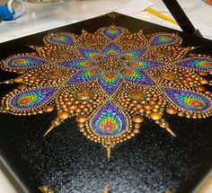 I have up for sale my first prints of Infinity Gold Mandala! I'm celebrating by offering off my entire store! Dot Art Painting, Mandala Painting, Painted Table Tops, Mason Jars, Mandala Dots, Metallic Paper, Dots Design, Rock Art, Painted Rocks