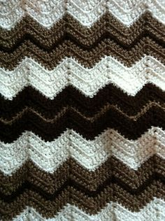 Ripple Baby Blanket, crocheted by carolinemwr in RHSS Aran, Coffee, & Cafe Latte. Free pattern by Marilyn Losee, worked in all SC. #crochet #afghan #throw