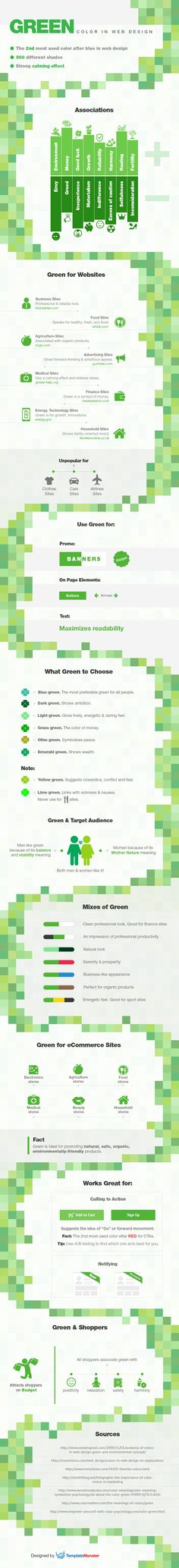 A visual guide on how to use green color in web design to attract visitors, turn them into customers, and thus increase conversion.