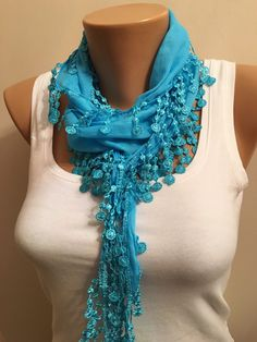A personal favorite from my Etsy shop https://www.etsy.com/listing/262909637/turquoise-cotton-scarf-springsummer