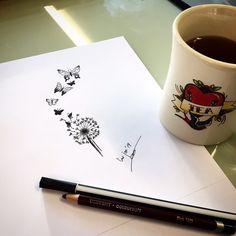 Drawing Dandelion Tattoo Design Made by linda Roos - Da Linci Art, Zwijndrecht - The Netherlands www.dalinciart.nl #drawing #design #tattoodesign #dalinciart #tattooshop #zwijndrecht #butterfly #butterflytattoo #dandelion #dandeliontattoo