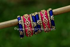 Blue And Pink Coloured Kundan Worked single Hand Silk Thread Bangle Set Silk Thread Bangle Set Stone Studded Metal Bangles Dark Blue And Pink Colored Single Hand Bangle Set Size- Silk Thread Earrings Designs, Silk Thread Bangles Design, Gold Bangles Design, Thread Jewellery, Designer Bangles, Diy Jewellery, Kundan Bangles, Silk Bangles, Bridal Bangles