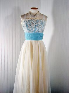 Vintage 1950s 50s Dress SWAY ME MORE Ivory and Ice Blue Chiffon Lace Prom Party Wedding Gown m