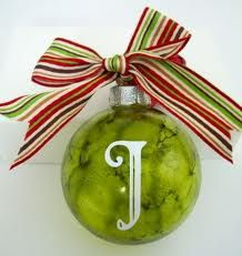 Alcohol ink Christmas ornament. Squirt inside of glass ornament. Like the initial. Would be great with sheer wired ribbon.