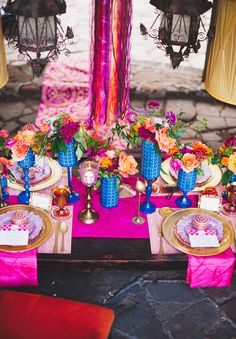 Moroccan inspiration shoot. Beautiful colors and tablescape.