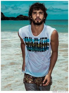 Brazilian top model Marlon Teixeira joined by Victoria's Secret angel and supermodel Candice Swanepoel for the Osmoze Jeans campaign masterfully shot on a beach location by photographer Gui Paganini. Marlon Teixeira, Brazilian Male Model, Brazilian Men, Male Model Names, Male Models, Wonder Man, Formal Shirts For Men, Underwear, Country Man