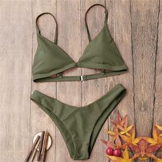 Spaghetti Strap Removable Padded Bikini in military green color💚 Trendy Swimwear, Cute Swimsuits, Cute Bikinis, Swimwear Fashion, Women Swimsuits, Bikini Beach, Bandeau Bikini, Bikini Swimwear, Summer Bathing Suits