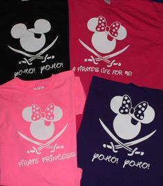 FAMILY SET of CUSTOM Pirate Mickey/Minnie Tshirts - so cute for cruise or the parks!