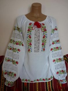 Items similar to Women Blouse with traditional Ukrainian embroidery blouse Homespun cloth Vyshyvanka style Ethnic clothes Modern folk Ukrainian disign on Etsy Embroidered Clothes, Embroidered Blouse, Dmc Cross Stitch, Diy Crafts For Girls, Ethnic Outfits, Anarkali Dress, Embroidery Fashion, Beautiful Blouses, Simple Dresses