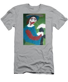 Patrick Francis Silver Designer Slim Fit T-Shirt featuring the painting Man With A Feathered Hat 2014 by Patrick Francis