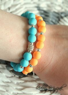 Zielony Myszak: Peach and Blue :) #bracelet #handmade #beads #jewellery