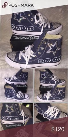 134a0631d Dallas Cowboys converse with bling Dallas Cowboys! All shoes are made to  order - shoes