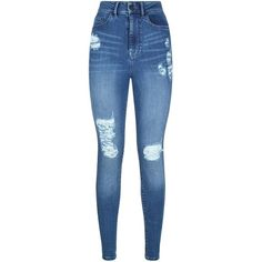 Waven High Rise Ripped Skinny Jeans (89 AUD) ❤ liked on Polyvore featuring jeans, pants, bottoms, calças, pants and shorts, skinny jeans, stretch skinny jeans, destroyed skinny jeans, blue jeans and high-waisted jeans