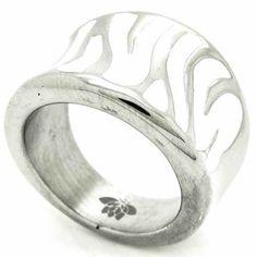 Joyas de Acero-Anillos-RA0745W. Anillo acero, esmaltado blanco en forma de cebra
