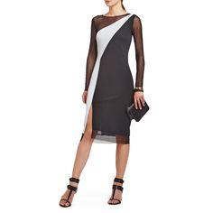 BCBGMAXAZRIA COLOR BLOCK COCKTAIL DRESS