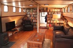 interior of barge Barge Interior, Interior Design, Canal Barge, Canal Boat, Narrowboat Interiors, Houseboat Living, Houseboat Ideas, Dutch Barge, Loft