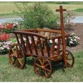 Amish Made Stained Goat Wagon. So cute in a garden! Set something on the bottom and a large pot of ever bearing strawberries to hang over the edges.
