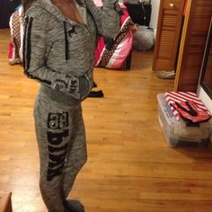 Vs pink bling set great condition. Jacket is small, pants are xs.  No trades PINK Victoria's Secret Sweaters
