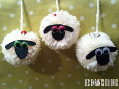 the kids of the gfic: 3 little white sheep . Eid Crafts, Yarn Crafts, Diy Crafts To Sell, Easter Crafts, Christmas Crafts, Art For Kids, Crafts For Kids, Arts And Crafts, Pom Pom Animals