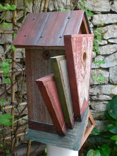The Phoenix: Art Deco Birdhouse Handmade from by Roundhouseworks