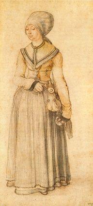 Dama de Nuremberg en traje casero, 1500 acuarela sobre papel, 28 x 13 cm Milán, Ambrosiana