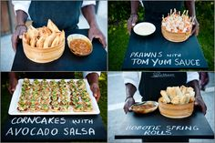 South African canapes served on black boards Wedding Canapes, Wedding Catering, Wedding Receptions, Paella Party, Waffle Bar, Gourmet Breakfast, Reception Food, Dinner Themes, Island Food