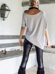 Blusa Top asimétrico gris de plata / gris suelta blusa Top /