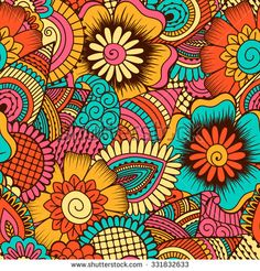 Hand drawn seamless pattern with floral elements. Colorful ethnic background. Pattern can be used for fabric, wallpaper or wrapping
