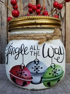 Jingle all the Way Squatty wide mouth Hand painted Pint, Jingle All The Way, Christmas Mason jar Mason Jar Projects, Mason Jar Crafts, Mason Jar Diy, Diy Projects, Christmas Projects, Holiday Crafts, Christmas Time, Christmas Ideas, Painted Jars