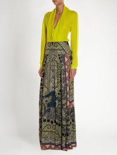 Paisley and graphic-print silk skirt  | Etro | MATCHESFASHION.COM