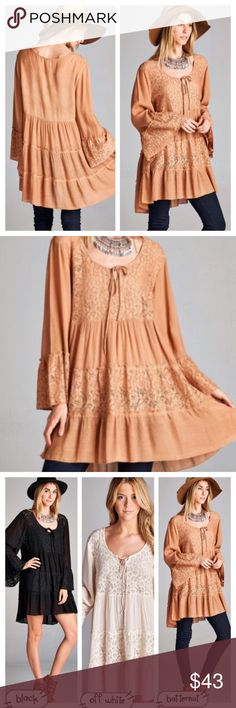 LACE DETAILED RUFFLE DRESS/TUNIC This round neck, lace tunic/dress has beautifully detailed lace and soft ruffles. Ties at neck or leave open. Also available in Black and Off White. tla2 Dresses Mini