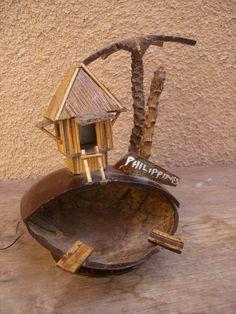 Vintage Souvenir Coconut Tiki Hut Ashtray