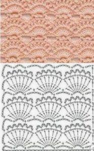 Crochet Diagram, Crochet Motif, Crochet Lace, Free Crochet, Crochet Stitches Patterns, Knitting Stitches, Stitch Patterns, Crochet Curtains, Crochet Collar