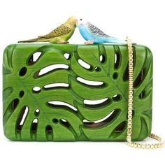 Sarah's Bag 'The Adored' clutch ($1,350) ❤ liked on Polyvore featuring bags, handbags, clutches, green, green purse, wooden purse, wood handbag, green handbag and wooden handbags