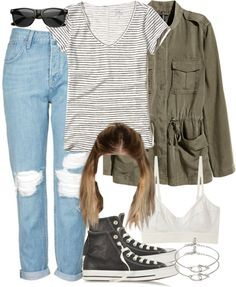 A fashion look from November 2016 featuring white t shirt, brown jacket and petite jeans. Browse and shop related looks. Fair Outfits, Cool Outfits, Fashion Outfits, Converse Leather Shoes, Teen Wolf Outfits, Dark Blue Denim Jeans, Fandom Outfits, All Black Outfit, Other Outfits