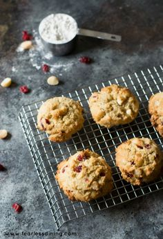 Easy Gluten Free Cranberry White Chocolate Chip Cookies. Make a double batch because they are so good! Recipe at http://www.fearlessdining.com