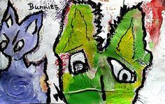 Original LABEDZKI Abstract Painting Outsider Art Bunnies 5x8 inch on Paper | eBay