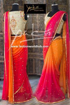 Ethinic Saree collection from Yaksi Deepthi Reddy Simple Sarees, Trendy Sarees, Stylish Sarees, Fancy Sarees, Party Wear Sarees, Half Saree Designs, Sari Blouse Designs, Blouse Patterns, Sarees For Girls