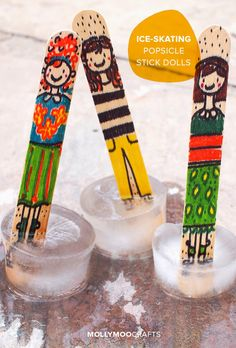 Make cute and fun Ice-Skating Popsicle Stick Dolls
