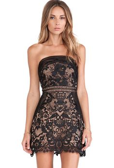 Sheinside, strapless lace dress