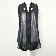 0025f0c59772ae Rock Republic Womens Top Black Semi Sheer Metallic Sleeveless Zip Animal  Print M  fashion