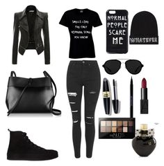 """4 All black☕️"" by miha-crazypink on Polyvore featuring Topshop, Ann Demeulemeester, Kara, 3.1 Phillip Lim, Local Heroes, Max Factor, Urban Decay, NARS Cosmetics, Maybelline and Aéropostale"