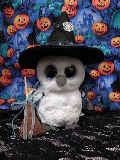 Your place to buy and sell all things handmade Halloween Beanie Boos, Beanie Boo Party, Halloween Owl, Ty Beanie Boos, Beanie Babies, Happy Halloween, Felt Witch Hat, Mack Attack, Baby Stuffed Animals