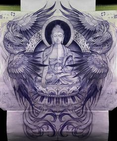 Phoenix wings and Buddha art inspiration tattoo design Buddha Tattoo Design, Buddha Tattoos, Body Art Tattoos, Sleeve Tattoos, Asia Tattoo, Japan Tattoo, Chinese Tattoo Designs, Japanese Tattoo Art, Buddha Kunst
