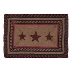 Bingham Jute Rug Rect Stencil Stars This rug measures rectangle, braided jute. Featuring point barn red stars stenciled in the center with a braided black, tan and barn red border. Star Bedding, Quilt Bedding, Star Stencil, Stencils, Country Rugs, Kitchen Area Rugs, Red Color Schemes, Primitive Stars, Braided Rugs