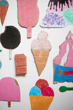 Ice cream workshop at Fine Little Day. Maybe cut out ice cream shapes and scoops from cardboard and paint in multiple colors then glue to magnets for fun creations on the fridge? Kids Crafts, Projects For Kids, Diy For Kids, Cool Kids, Art Projects, Arts And Crafts, Crafty Kids, Cardboard Crafts, Creative Kids