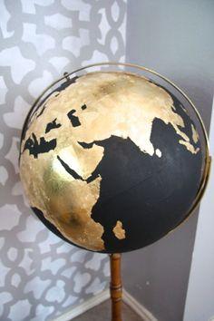 DIY Black  Gold Globe. The black could be chalkboard paint! @Bailey Francine Francine Flores