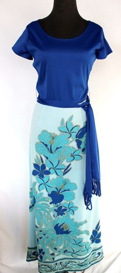 Alfred Shaheen Mod Vintage Alfred Shaheen Maxi Blue Solid and Floral Dress by PippysChoice on Etsy