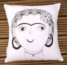New Screen Printed Frida Kahlo Cushion Pillow by Jane Foster