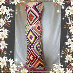 Sale Womens Crochet Granny Square Maxi Hippie Vintage Dress